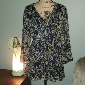 New Cato Woman Plus Size Long Sleeve Floral Tunic